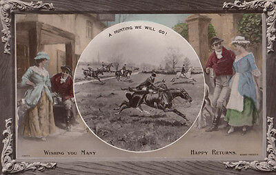 A Fox Hunting We Will Go Antique Romance Hunt Greetings Real Photo Postcard