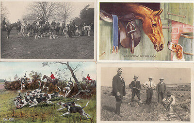 A Fox Hunting We Will Go 4x Antique Fox Hunt Postcard s