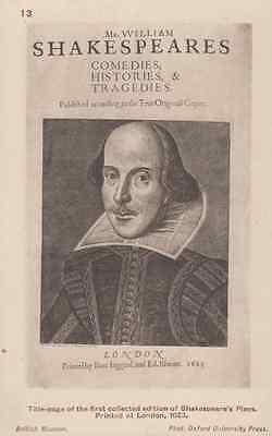 Shakespeare 1623 First Edition Plays 1st Page Antique British Museum Postcard