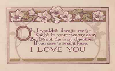 I Love You & Too Scared Nervous To Say It To Your Face Poem Antique Postcard