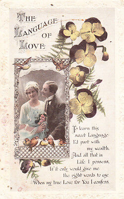 The Language Of Love Love Honour & Obey Part With Wealth Antique Postcard