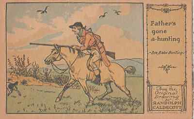 Fathers Gone A Hunting Painting Fox Hunt Rifle Postcard