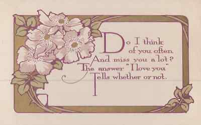 I Love You & Miss You So Much Poetry True Love Poem Antique Postcard