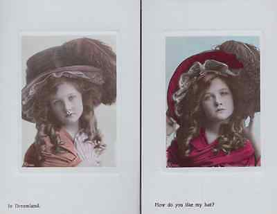 How Do You Like My Giant Hat Dreamland Hats 2x Antique Postcard