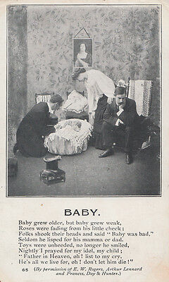 Baby Dying Prayer Poetry Songcard Antique Poem Postcard