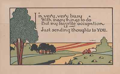 Really Busy Lots To Do But I Want To Say Thinking Of You Antique Poem Postcard