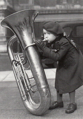 Child Playing Giant Tuba Trombone Brass Band Out oF Breath Comic RPC Postcard