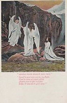 Angel Angels Bright Virgin White Fair Poetry Song Card Antique Postcard