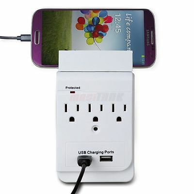 3 Electrical Outlet Wall Surge Protector USB Plate Receptacle with phone holder