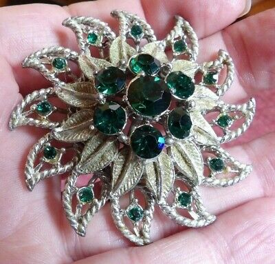 Fab Vintage / Retro Huge Bottle Green Crystal Set Floral Brooch