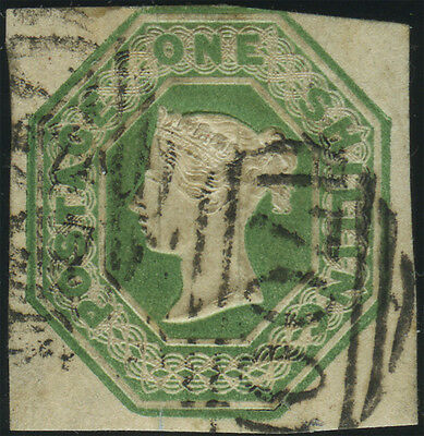 """SG 55 Embossed 1/- green, sound used 3 margin example with neat """"700"""" (Sheffield"""