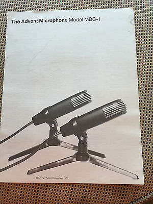 Vtg Advent Brochure ~ MDC-1 Microphone 1972