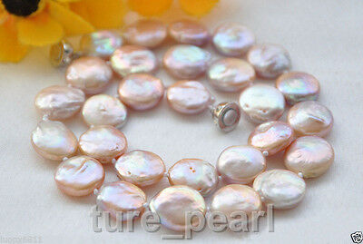 11-12mm pink coin Freshwater cultured pearl necklace 18""