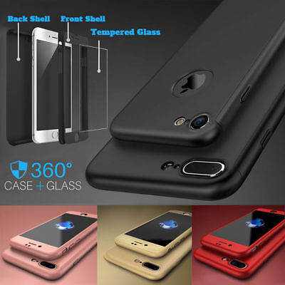 Hybrid Full 360° Shockproof Case Tempered Glass Cover For Apple iPhone 8 7 6s SE