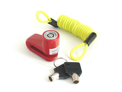 Voche Heavy Duty Motorcycle Bike Wheel Security Disc Lock & Neon Reminder Cable
