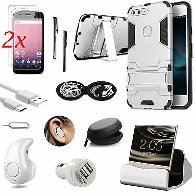 Sliver Kickstand Case Cover Charger Earphones Accessory For Google Pixel XL