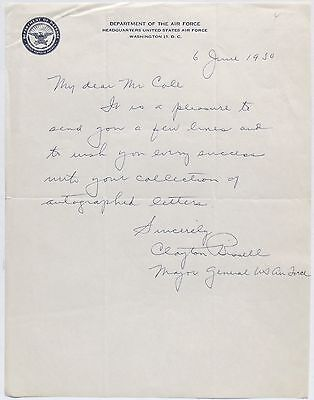 Clayton L. Bissell WWI Ace 148th/41st Aero Squadron [6] Victories Signed Letter.