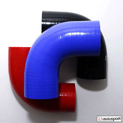 """3"""" 76mm 4 PLY Performance Silicone Hose 90 degree Elbow Bend cooling TX BLUE"""