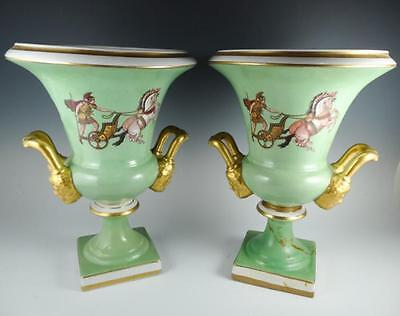 Pair 1940s French Gilded Roman Chariot Decorated Old Paris Porcelain Style Urns