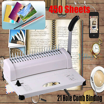 Office Premium 21 Hole Comb Binder Binding Machine 450 Sheets Cpacity A4 Punch