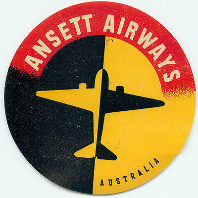 Australia Ansett Airways Vintage Aviation Airline Luggage Baggage Label