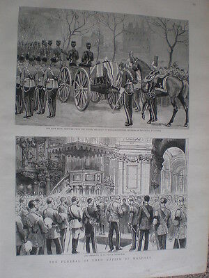 The Funeral of Lord Napier of Magdala 1890 old print