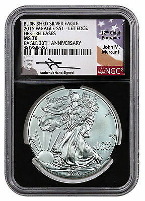 2016-W Burnished Silver Eagle NGC MS70 FR Mercanti Label Black Core SKU44802