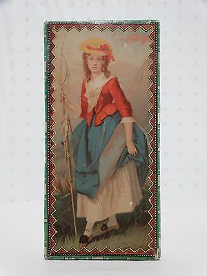ANTIQUE 1900's Litho Print Handkerchief Box Lovely Maiden 1860's Dress Fishing