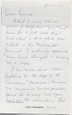 Jack Northrop Aviation Pioneer Autograph Signed Letter Designed The Flying Wing.