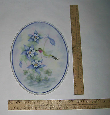 GEROLD-TETTAU - HUMMINGBIRD with FLOWERS -Oval Decorative Plaque - Lois Fletcher
