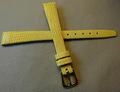 Yellow Genuine Water Resistant Leather Lizard Grain 12mm Watch Band Gold Buckle