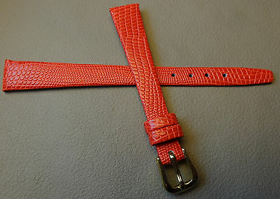Red Genuine Water Resistant Leather Lizard Grain 12mm Watch Band Gold Buckle