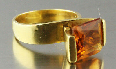 Vintage Russian natural  Amber real 750 18 k gold ring 10.5 gr size 8