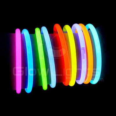 "50 - 1000 x 8"" Glow Light Sticks Bracelets Asst Colors Neon Glo Party Necklaces"