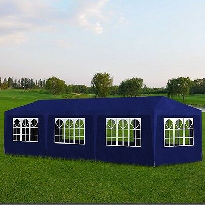 Gazebo 3x9m Blue Party Tent Marquee Folding Up Canopy Outdoor Wedding Event