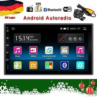 "7"" Autoradio Android 5.1 Din Quadcore GPS Navi Wifi RDS 16G BT USB+Parking Cam"