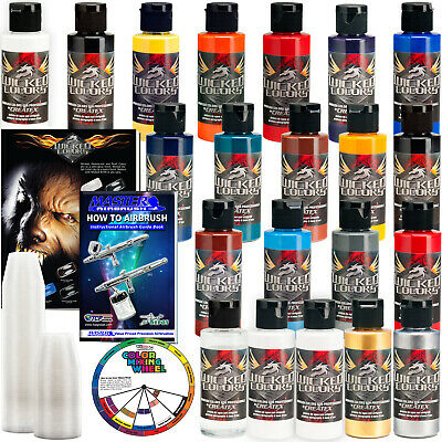 20 Createx Wicked Colors 2oz Starter Colors Airbrush Paint Set - Hobby Craft
