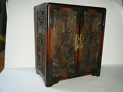 Antique Chinese rosewood cabinet /box 4 hand carved panels not fansy Interior