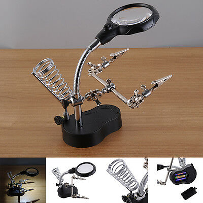 12X 3.5X Helping Hand Soldering Stand With LED Light Magnifier Magnifying Glass