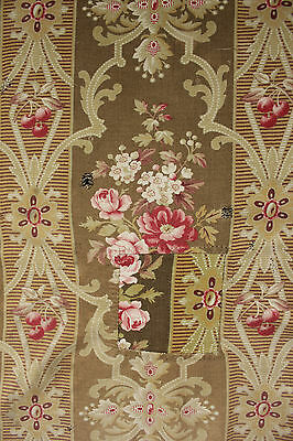 Antique French fabric material Rococo floral chair cover pattern 1890 upholstery