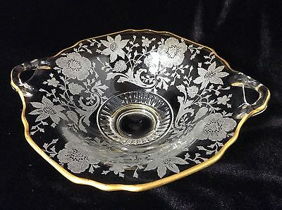 Vintage Cambridge Glass Bowl Wildflower Gold Overlay