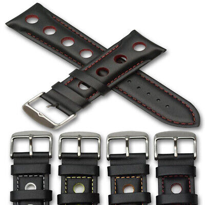 Genuine leather rally racing sport strap black grand prix thick band replacement