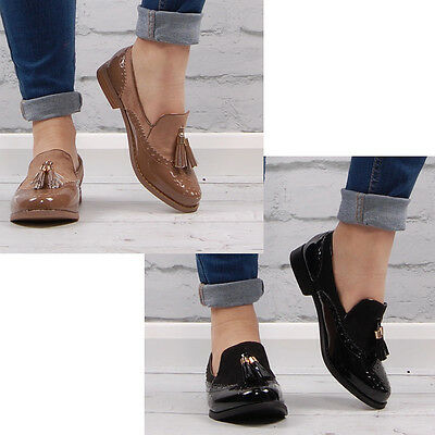 Womens Brogues Pumps Loafers Casual Office Work School Dress Ladies Shoe Size