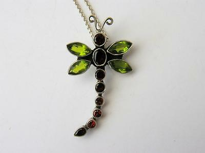 INCREDIBLE Vintage HUGE Solid SILVER Garnet & Peridot DRAGONFLY Pendant NECKLACE