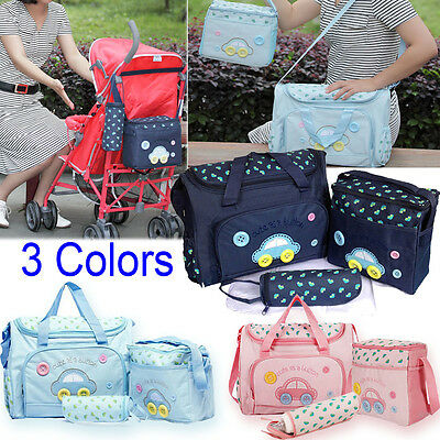 Hot Sale 4PCS Embroidery Baby Nappy Diaper Mummy Changing Shoulder Handbag Bags