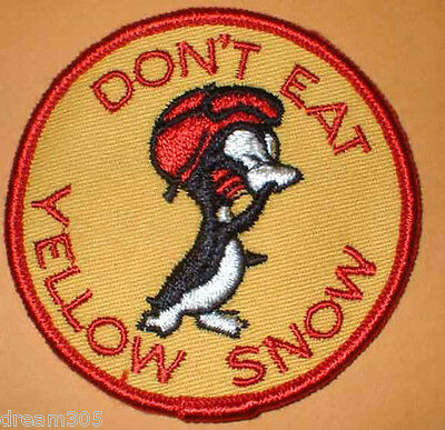 Vintage Snowmobile Patch Ski Hiking  - DONT EAT YELLOW SNOW! 1960's 1970's