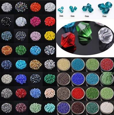 Bicone Crystal Glass Loose Spacer Beads 3mm 4mm 6mm 8mm 100pcs/50pcs/20pcs