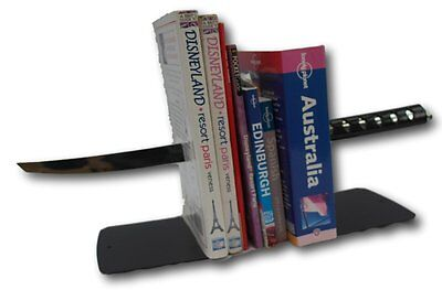 Katana Japanese sword bookends - cut through the crud with these