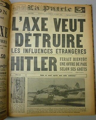 Original Historical Bounded Newspaper Montreal La Patrie September-October 1940