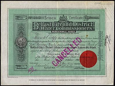 Belfat City & District Water Commissioners, 3.5% redeemable stock, 1918